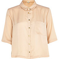 Nude silky boxy cropped shirt