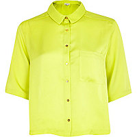 Yellow silky boxy cropped shirt