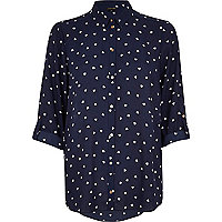 Navy heart print roll sleeve shirt