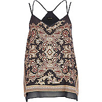 Grey paisley print double layer cami top