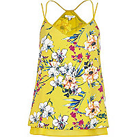 Yellow floral print double layer cami top