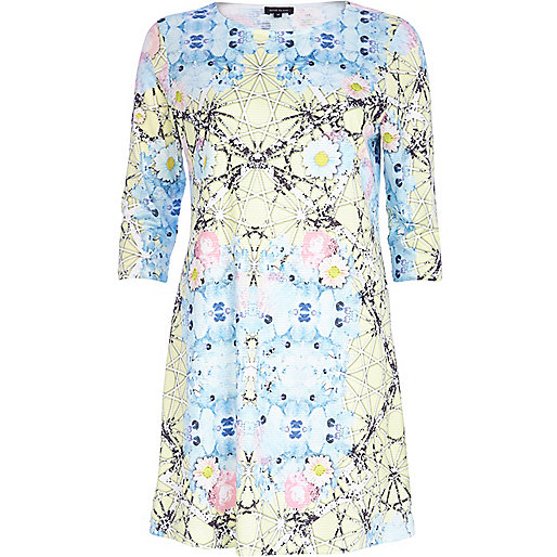 Blue abstract floral print smock dress