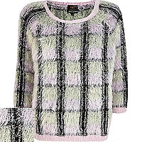 Black check fluffy jumper