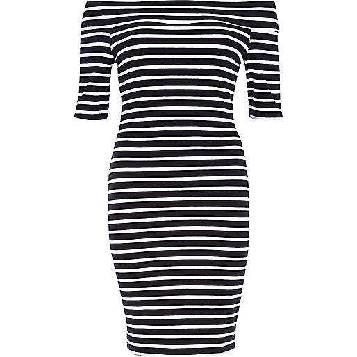 Black and white stripe bandeau dress