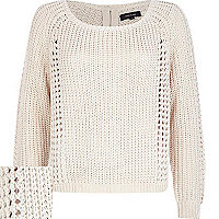 Cream chunky knit zip back jumper