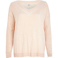 Light pink mesh panel jumper