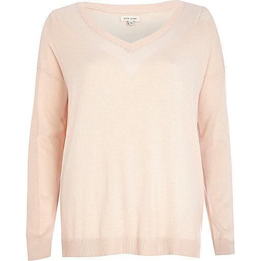 Light pink mesh panel jumper