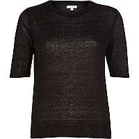 Black lightweight knit half sleeve top