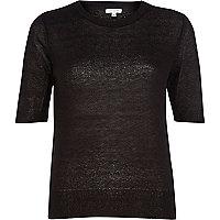 Black lightweight knit half sleeve top