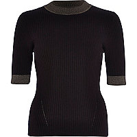 Black lurex trim ribbed top