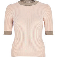Light pink lurex trim ribbed top