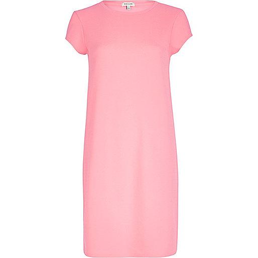 Bright pink t-shirt column dress