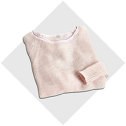 Pink mohair stepped hem jumper