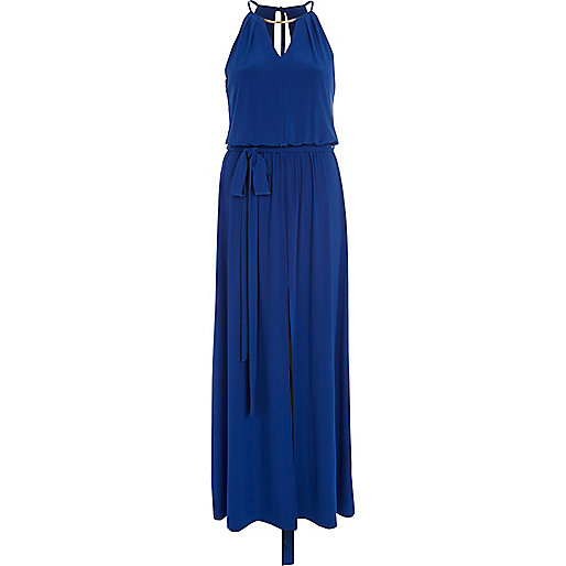 Bright blue necklace trim maxi dress