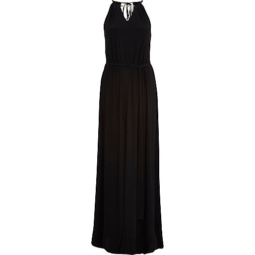 Black necklace trim maxi dress