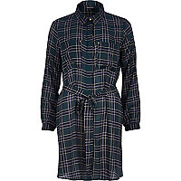 Green check shirt dress