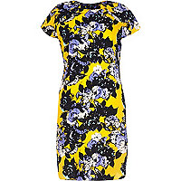 Yellow floral print swing dress