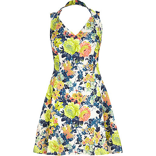 Yellow floral print strappy skater dress