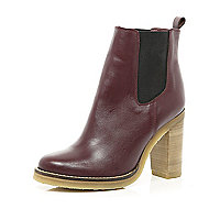 Dark red leather crepe sole Chelsea boots