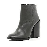 Dark grey block heel ankle boots