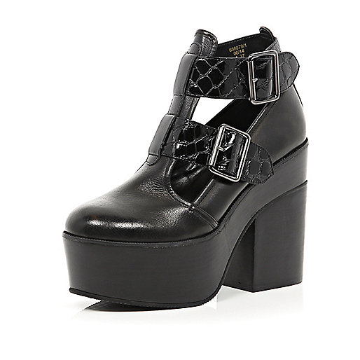 Black cut out platform shoe boots