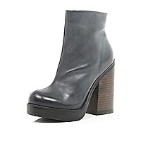 Dark grey block heel ankle boots