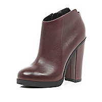Dark red cut out back ankle boots