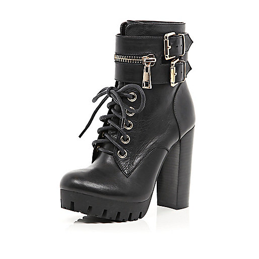 Black zip trim lace up platform boots