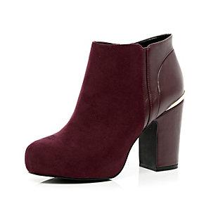Dark red concealed platform ankle boots