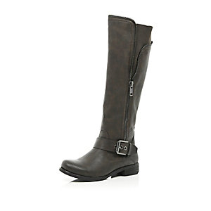 Dark brown zip detail knee high boots