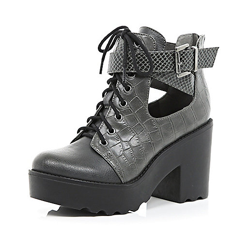 Grey croc cut out block heel boots