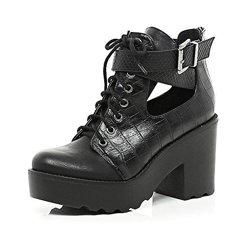 Black croc cut out block heel boots