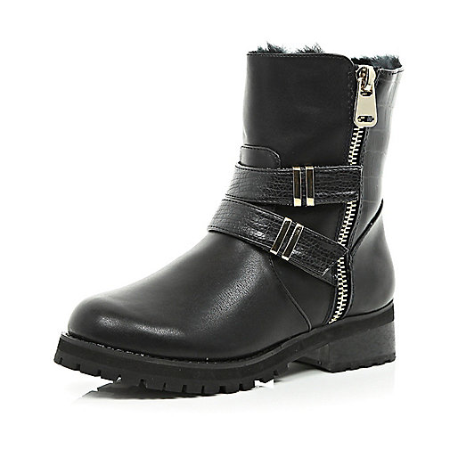 Black faux fur lined metal trim biker boots