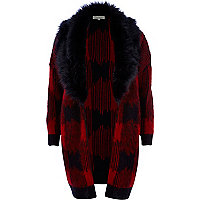 Red check faux fur collar cardigan