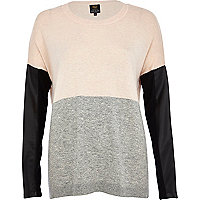 Pink leather look sleeve colour block jumper