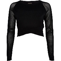 Black wrap front mesh sleeve crop top
