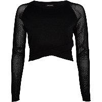Black wrap front mesh sleeve crop top