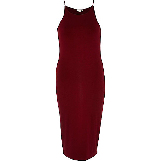 Dark red racer front bodycon midi dress