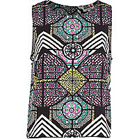 Black Chelsea Girl stained glass print top