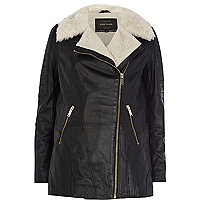 Black faux fur lined longline leather jacket