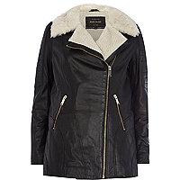 Black faux fur lined longline leather jacket