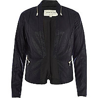 Black zip collar leather-look jacket