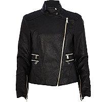 Black leather-look turtle neck biker jacket