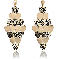 Gold tone leopard print heart drop earrings