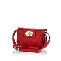 Red croc mini cross body bag