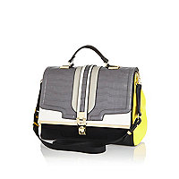 Grey mock croc colour block satchel