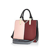 Light pink colour block tote bag
