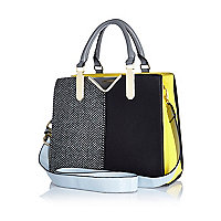 Black herringbone colour block tote bag