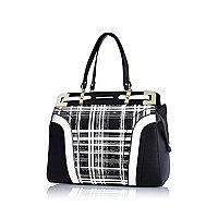 Black check print structured tote bag