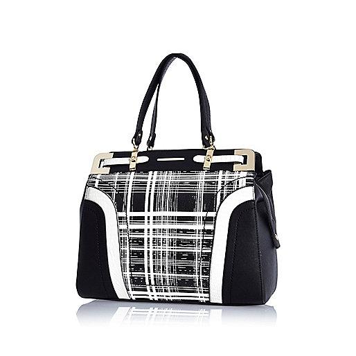 Black check print structured tote bag